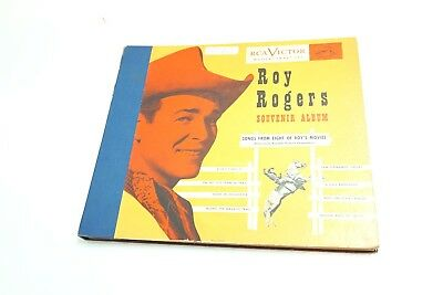 """Vintage Roy Rogers Souvenir Album With Four 10"""" Inch 78 Records By Rca Victor"""