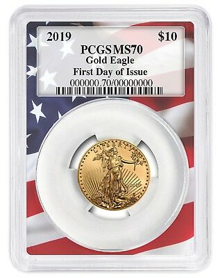 2019 $10 Gold Eagle PCGS MS70 - First Day Issue - Flag Frame