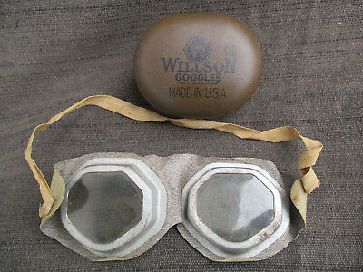 ANTIQUE VINTAGE 1920s-1930s WILSON RIDING DRIVING EYE GOGGLES with TIN CASE