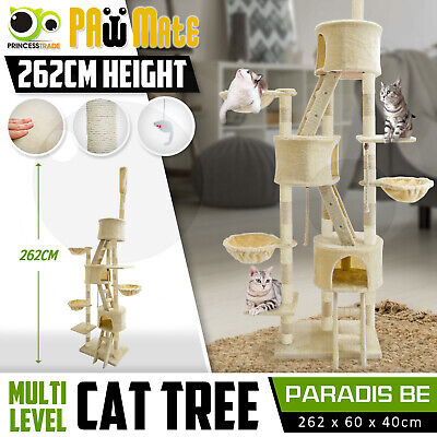 Cat Tree Scratching Post Scratcher Pole Gym House Furniture Multi Level 273cm BE