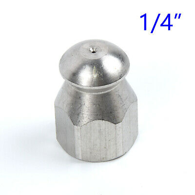 """Pressure Washer Jet Wash Drain Cleaning Nozzle 1/4""""M BSP 1 Forward 3 Rear"""