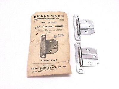 Nos! Vintage Holly Made Chrome Steel Flush Hinges, Black Lines, Stepped Corners