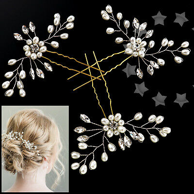 3Pcs Wedding Bridal Pearl Flower Crystal Hair Pins Bridesmaid Fashion Clips Comb