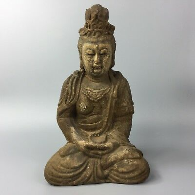Chinese Antique Rare Collectible Old Wood Handwork Effective Buddha Statue