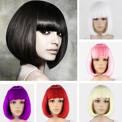 Court Cheveux Raides Synthétique Cosplay Dame Bob Perruque Bangs Femmes Peruca