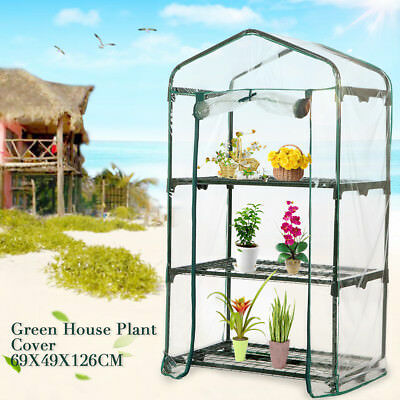 Waterproof 3-Tiers Garden Walk In Greenhouse Hot Plant House Shelves PVC
