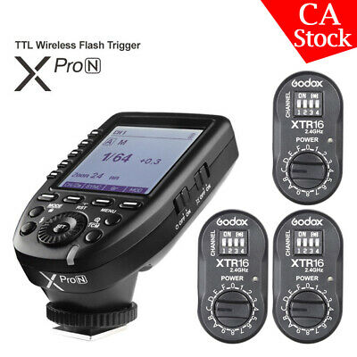 Godox XPro-N 2.4G TTL Wireless Flash Trigger+ 3*XTR-16 Receiver For Nikon Camera