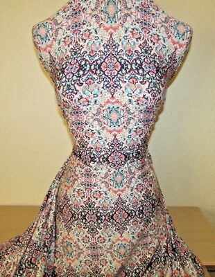 BY THE YARD POLY LYCRA 4W STRETCH IMPERIAL PAISLEY PRINT MULTI-COLOR NEW