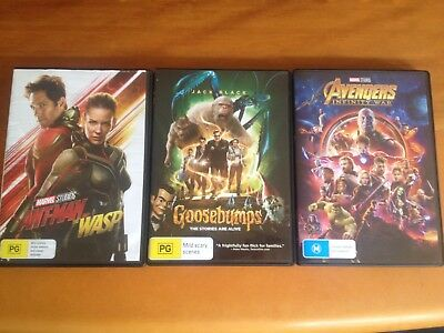 Avengers Infinity War (DVD, 2018), Ant-Man and the Wasp (DVD, 2018), Goosebumps
