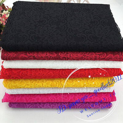1YD, Flower Stretch Lace Trim Ribbon Elastic fabric 30cm wide Sewing Craft FL243
