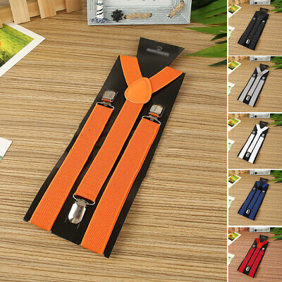 Men Braces Suspenders X Back Trousers Adult Heavy Duty Clip On Retro Unisex Hot