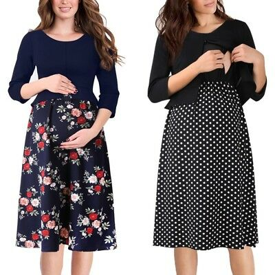 Women Mama Maternity Nursing Peplum Floral Print Work Office Casual A-Line Dress