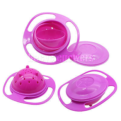 Gyro Food Bowl Dishes with Lid Baby Kid Children 360 Rotate Spill-Proof Pink