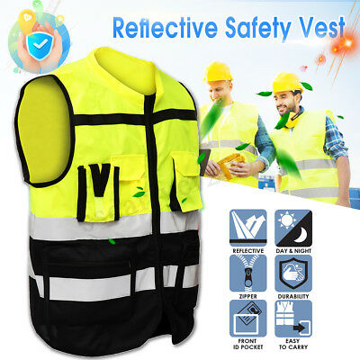 New Hi-Vis Safety Vest Safe Reflective Driving Jacket Night Security Waistcoat
