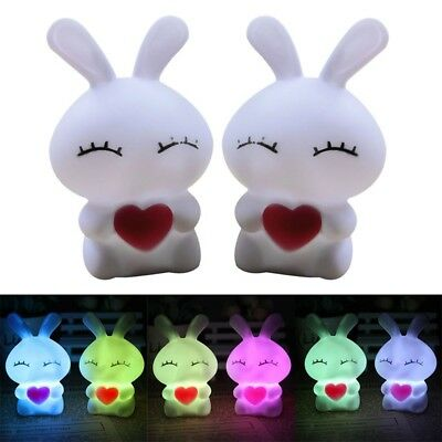 1x Mini Bunny Shape Colors Changing Night Light Party Easter Decor Kids Pro Gift