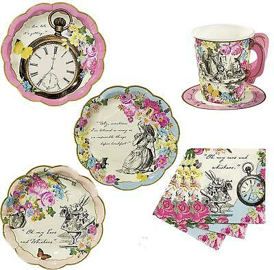 Alice in Wonderland party kit for 12 guests Tea Party Mad Hatters Plates Napkins