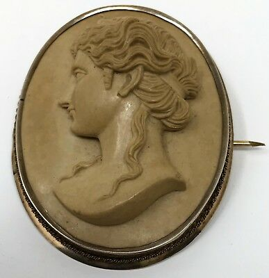 Antique Italian Lava Cameo Grand Tour Hand Carved Gold Plated Brooch RCP