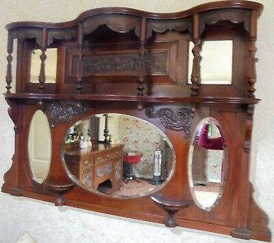Large Antique Mahogany Overmantle Mirror,with Beautiful Carved Detailing.