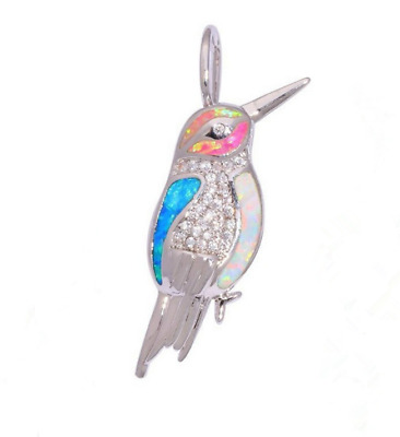 Woman Fashion 925 Silver Jewelry Bird Fire Opal Charm Pendant Necklace Chain HOT