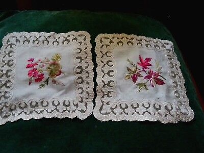 A pair of very pretty hand embroidered Victorian silk doillies.