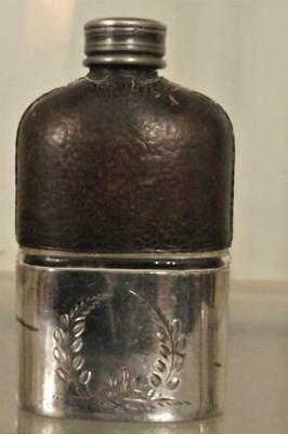 Gentlemans Antique Wilkinson Silver Plated Leather Bound Hip Flask wth Twist Lid