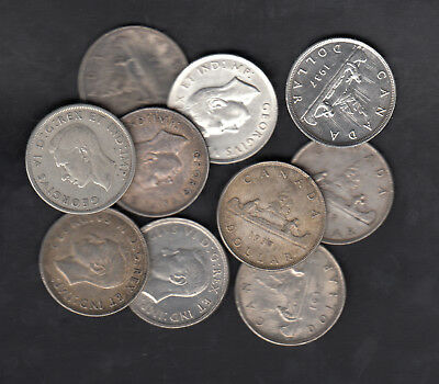 1937 Canada Silver Dollars Lot Of 10