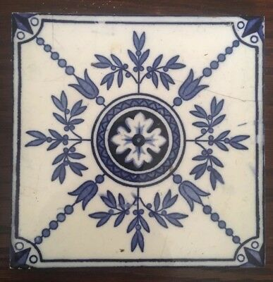 Milton Hollins And Co Blue And White Antique Tile - Excellent Condition