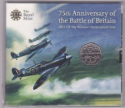 Sealed 2015 Uncirculated 50 Pence Coin In Royal Mint Flatpack Battle Of Britain