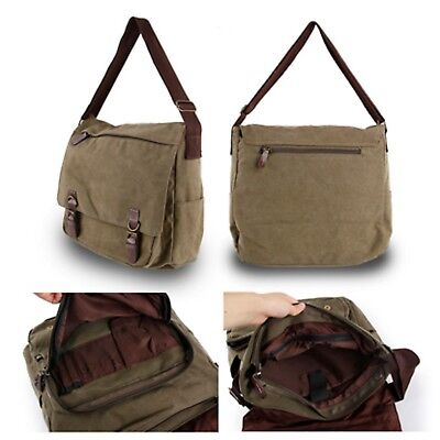 Canvas Cross Body Shoulder Work Bag Messenger Bag Flap-over Unisex