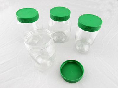 60x PET PLASTIC CLEAR JAR 250ml CONTAINER STORAGE COSMETIC CREAM FOOD GREEN LID