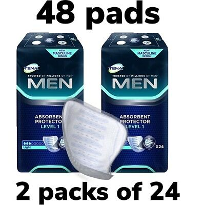 Tena Men Level 1 Absorbent Protector 2 Packs of 24 48 Guards Incontinence Pads