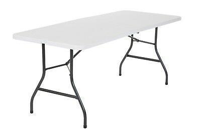 6 Ft Folding Table Portable Office Centerfold Plastic Home Patio Party White New