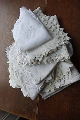 Bundle 17 items vintage white linen lace & embroider cloths toppers re-sale