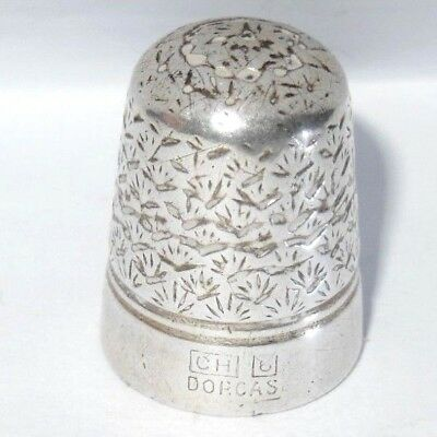 Charles Horner Sterling Silver Steel cored Thimble DORCAS Size 6 Shell PATTERN