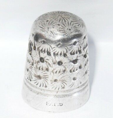 Early Antique Dorcas Thimble PATENT 5 - Steel-cored sterling silver Thimble