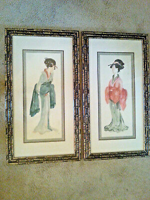 Pair Lovely Vintage Japanese Geisha Watercolor Paintings - Signed & Framed