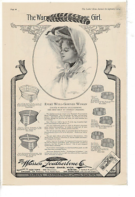 Sep 1904 Ladies' Home Journal Warren Featherbone Girl H Fisher Ad Print E154