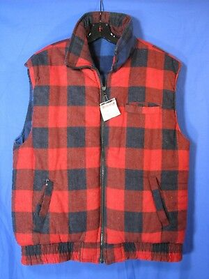 882e96e86c BRANDED LION Reversible PUFFY VEST Red   Blue BUFFALO CHECK PLAID FLANNEL  VTG XL