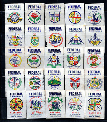 Australian, Federal Match Coats Of Arms Matchbox Labels