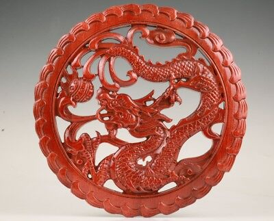 Unique Wood Handmade Carving Dragon Statue Wall Decorative Plate Gift