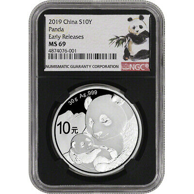 2019 China Silver Panda 30 g 10 Yuan - NGC MS69 Early Releases Ink Brush Black