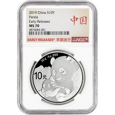 2019 China Silver Panda 30 g 10 Yuan - NGC MS70 Early Releases Bilingual Label