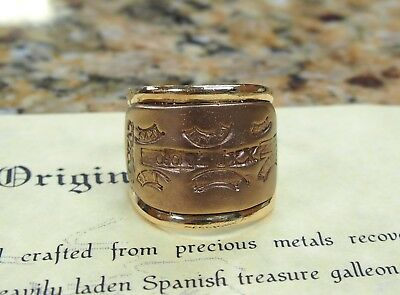 Atocha Shipwreck 14k Gold Bar Men's Ring Size 12 3/4 w/ CoA Mel Fisher Signed