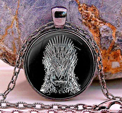 GAME OF THRONES Black Iron Throne Necklace Fantasy Novel TV Series Magic Silver
