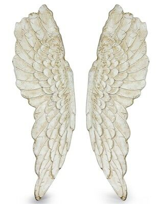 Extra Large Pair of Antique White Wall Angel Wings Art Picture Mounting French