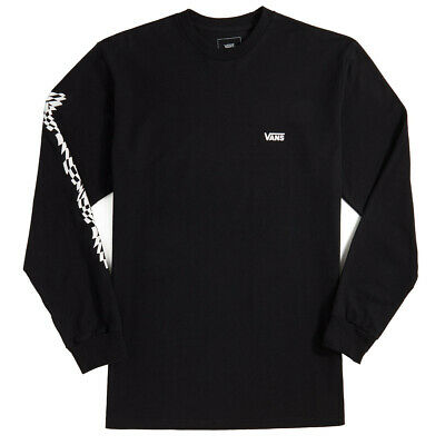 Vans WARPED CHECK Mens 100% Cotton Long Sleeve T-Shirt Medium Black NEW