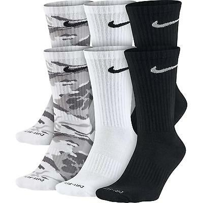 NEW Nike 6-Pack Dri-FIT Cushioned Crew Unisex Adult Socks SX5707-900 Camo White