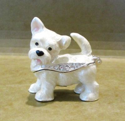 Westie Highland Terrier Dog Puppy Jeweled Hinged Trinket Box - Kingspoint