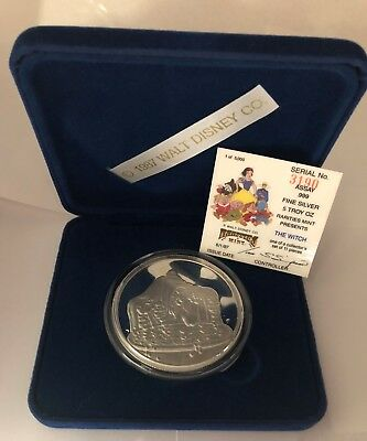 DISNEY Snow White 50th Anniversary WITCH Collectable .999 Fine 5oz Silver Medal