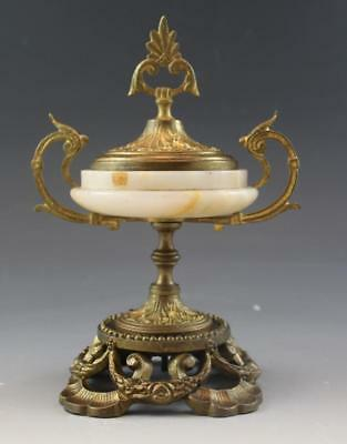 19C French Gilt Bronze & Marble Urn Form Garniture w/ Floral Swags